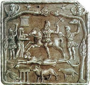 Dacii. Cetăţile aveau funcţie dublă, administrativă şi religioasă, cuprinzând cultul zeilor cabiri, asociati cu focul si metalurgia, dupa cum se vede din aceasta placă, desprinsa parca din Mioriţa.