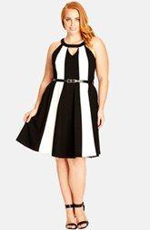 City Chic Block Stripe Fit & Flare Dress (Plus Size)