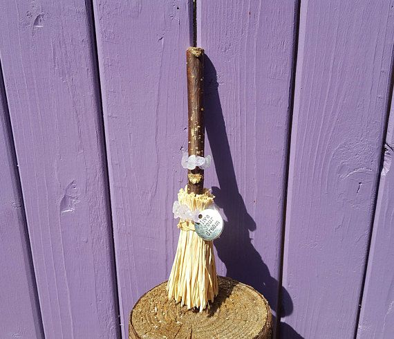 Amethyst Charm Broom Miniature Broomstick Witch Besom Live