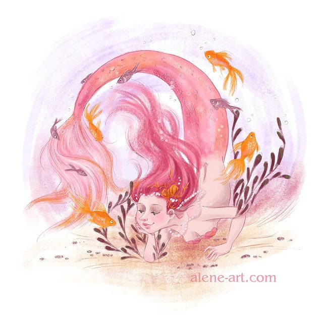 Alene Illustration: Meaningful Conversation by Alison Mutton : www.alene-art.com : a quick piece for Colour Collective's 'Baker Miller Pink' prompt on Twitter. It was Mermay, so a mermaid was the obvious choice!  #mermaid #pink #underwater #fantasy #childrensillustration #artforkids #kidlitart #drawing #goldfish