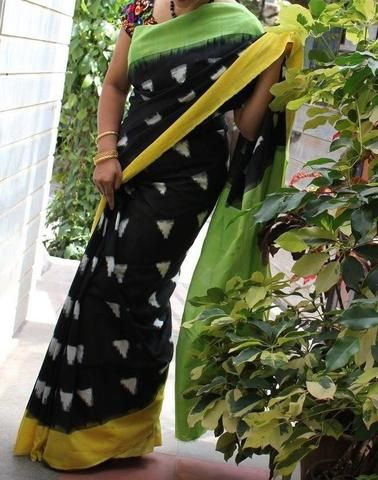 Rich Black and green Handwoven Pure Pochampally Ikkat Saree