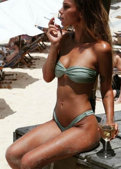 Wine Time done best beachside in the 'Malta' ESTELLA Bandeau and high-cut ALEXIS Bottoms  #bikini #swimwear || @sommerswim