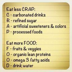 Eat less C.R.A.P., eat more F.O.O.D.