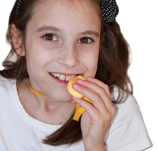 """Need to bite, chew, and fidget? YELLOW KidCompanions Chewelry ♥The chew necklace that kids love to wear & use!  ♥The quiet hand fidget teachers love for you to use!  ♥The discreet chewy that lets your child blend in. ♥Does not distract user or his/her classmates. ♥Available as Clip-ons ♥Choice of undyed 100% organic cotton Breakaway Lanyards in 18"""" or 20"""" lengths.  www.kidcompanions.com  #pediOT #specialNeeds #ADHD"""