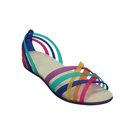Crocs Huarache Flat Cross Band Sandals, Multi/Blue