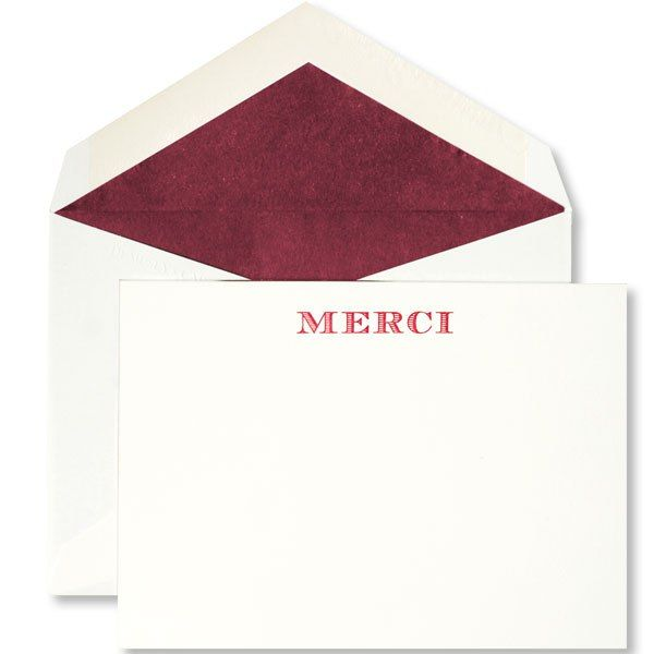 Merci notecards by Dempsey & Carroll, $60 for set of 10 cards with lined envelopes; dempseyandcarroll.com