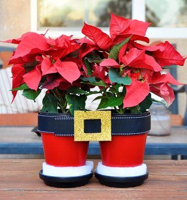 Santa pants flower pots - fun Christmas decor // Mikulás nadrág virágcserép egyszerűen - Mikulás dekoráció // Mindy - craft tutorial collection // #crafts #DIY #craftTutorial #tutorial #KidsCrafts #CraftsForKids #KreatívÖtletekGyerekeknek