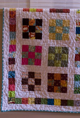 Nine Patch Quilt - Idea to use raised print cream fabric in background