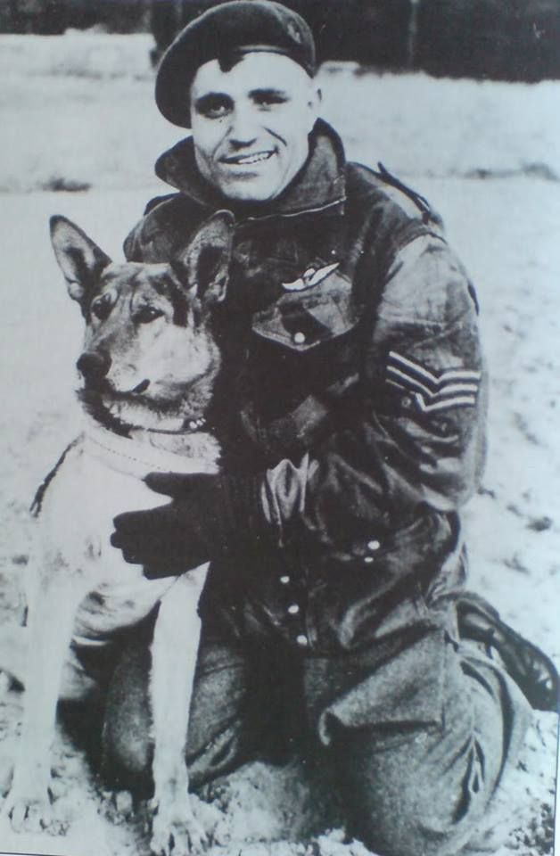 Sgt Peter Kowalski and Jonny Canuck, the 1 st Canadian Parachute Battalion's mascot who jumped into Normandy on D-Day with the Battalion. He Was So Eager To Go, He Pulled His Handler Out With Him. (They Both Landed Safely). (Photo: 1st Canadian Parachute Battalion Association)