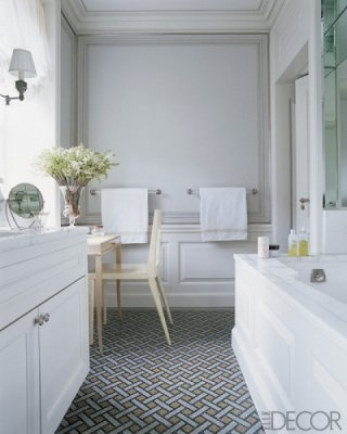Patterns under foot from Elle Decor: Fabulous Floors, Baskets Weaving, Elle Decor, Pattern, Tile Floors, White Rooms, White Bathroom, Mosaics Tile, Mosaic Tiles
