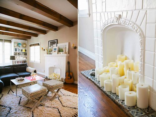 Fill an old fireplace with candles