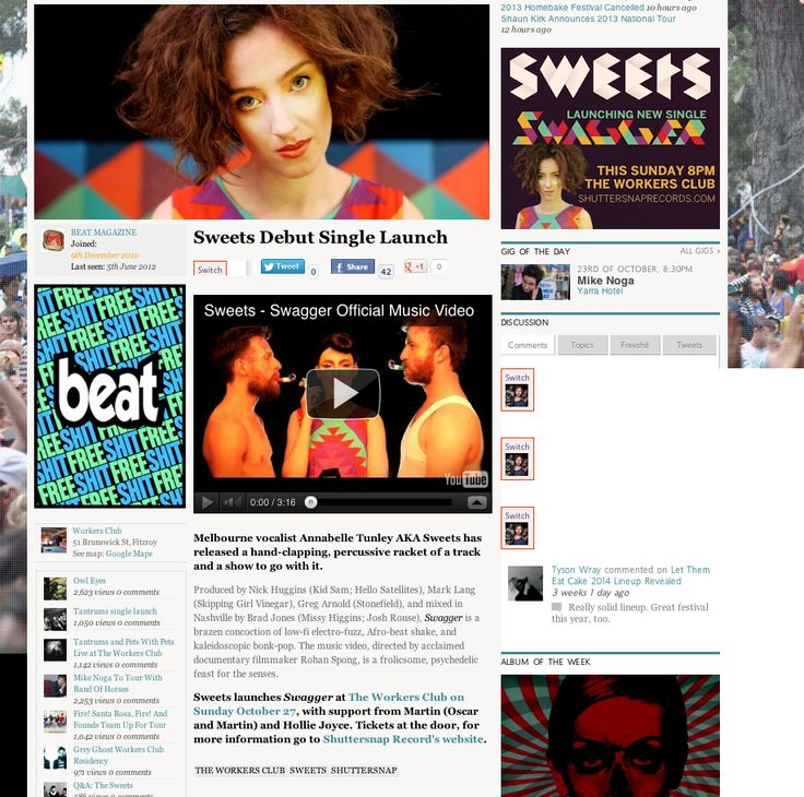Beat news piece on the launch: http://www.beat.com.au/music/sweets-debut-single-launch