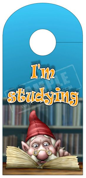 "A Print and cut out door hanger with the image of a Gnome reading and the words ""I'm Studying"" JPG format."