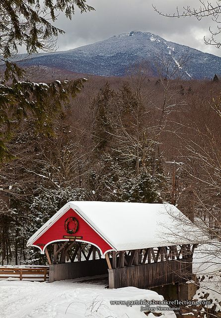 Pemigewasset River Covered Bridge in Franconia Notch State Park, NH.    Photo by Jeff Newcomer, via Flickr