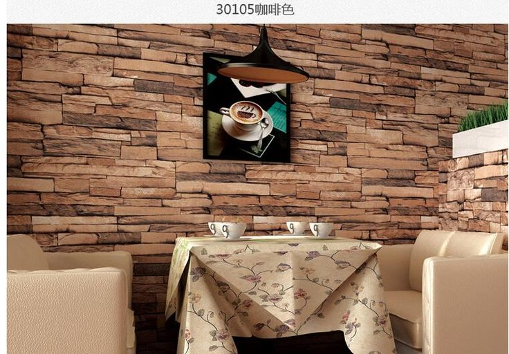 Hot 3D Luxury Wood Blocks Effect Brown Stone Brick 10M Vinyl Wallpaper Roll Living Room Background Wall Decor Art Wall Paper