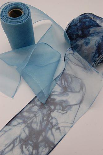 Indigo silk organza diffusion. Indigo dyed ribbon from Shibori Girl