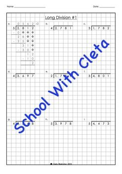These worksheets are designed for kids to as introductory long division worksheets with easy times tables (i.e. 2, 3, 4, and 5) for children who may not know all their times tables.Plus the boxes / graph paper helps them reinforce keeping their working out organised and numbers in the correct place value column.Each dividend is 4 digits long and the answers (i.e.