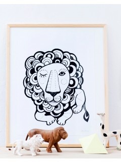 Sofie Børsting: Graphic Lion print A3, løve illustration, i sort/hvid streg, Ny vare i Tinga Tangos designbutik og på webshoppen