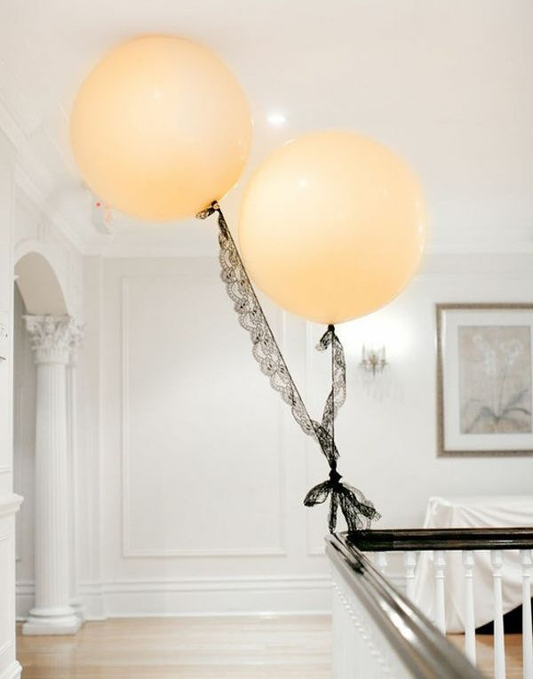 peach balloons tied with black lace for 2015 bridal shower ideas