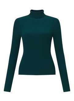Teal Knitted Rib Roll Neck