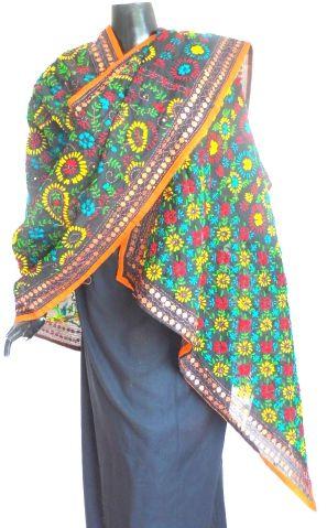 Phulkari Dupatta on Chanderi Fabric- Black:GiftPiper.com.Buy phulkari dupatta,phulkari sarees, phulkari suits,handmade indian jewellery