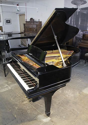 Antique 1900, Steinway Model A grand piano for sale with a black case and spade legs at Besbrode Pianos £15,000. Piano has an eighty-eight note keyboard and a three-pedal lyre.