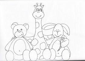 desenho de bichinhos para pintar em fraldas com urso, coelho e girafa