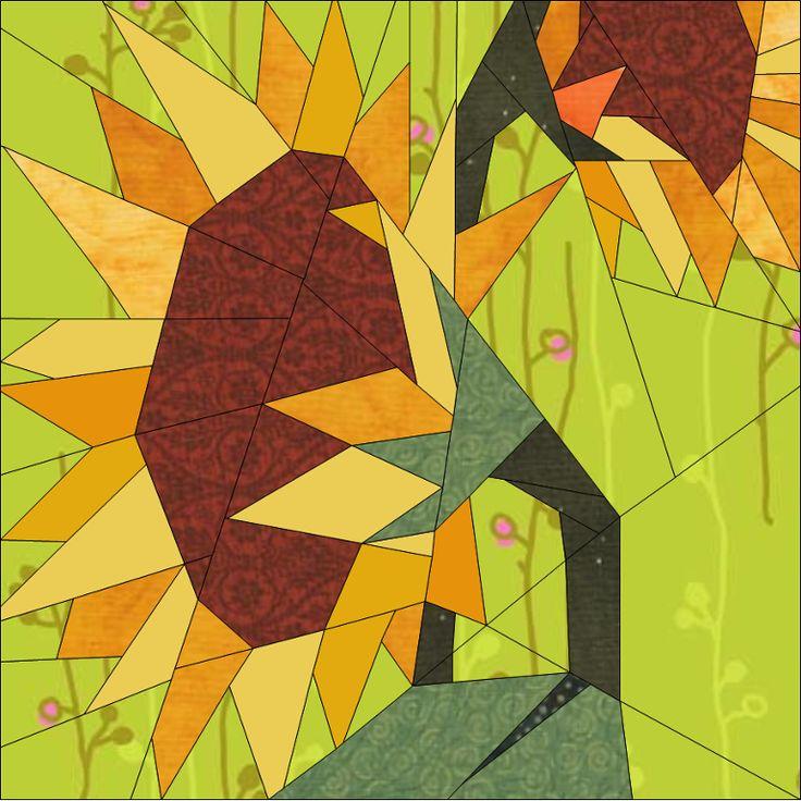 Sunflowers BoM April -In the Garden Paper Piecing Pattern quiltartdesigns.blogspot.com