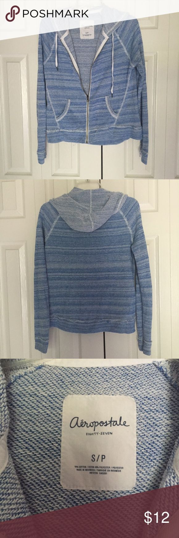 Blue & White Heathered/Striped Zip Up Hoodie Zip up hoodie from Aeropostale. Barely worn. Knit/distressed look. Pattern is striped or slightly heathered. Has drawstrings and pockets! Aeropostale Tops Sweatshirts & Hoodies