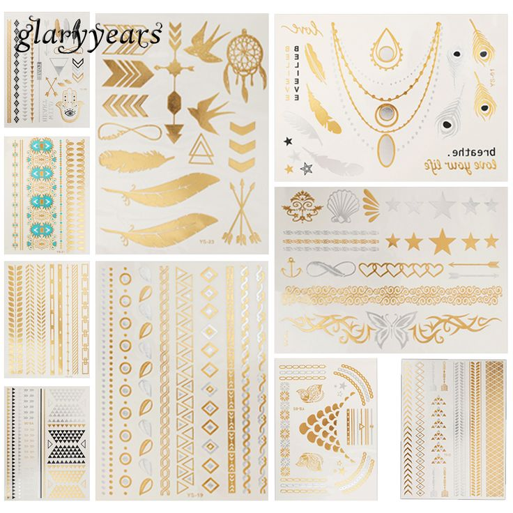 10 Sheets Flash Metallic Gold Tattoo Temporary Sticker Feather Lace Star Design Necklace Jewelry Makeup Tattoo Female Decal 2017 #Affiliate