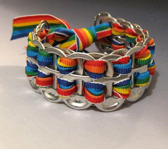 Recycled Soda Pop Can Tab Bracelet Rainbow by FireWarpedGlass