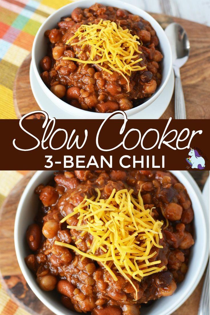 Three Bean Slow Cooker Chili Recipe Recipe Slow Cooker Chili Recipe Slow Cooker Chili Bean Chili Recipe