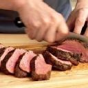 Provencal Beef Tenderloin - up temp to 450 degrees; add searing step and remove plastic wrap step; internal temp of about 145 for med rare/med.
