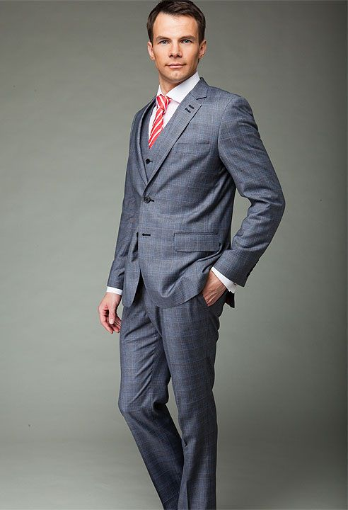 Grey three piece checked suit