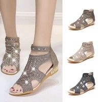 Wish | 2017 Summer Women's New Rhinestone Sandals Metal Hollow-out Roman Wedge Shoes(Black,Gold,Beige)