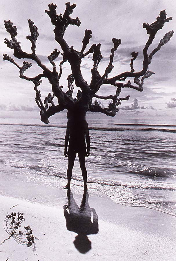 Jerry Uelsmann, Untitled (Man With Branches On Beach), 1975.