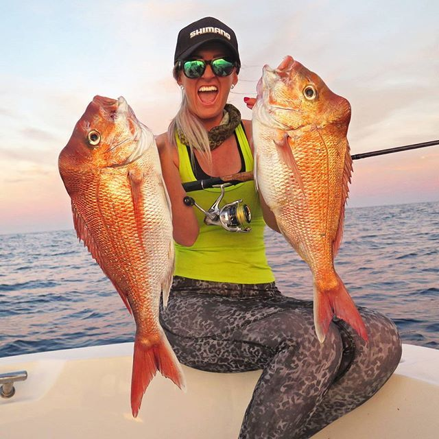 DOUBLE REDS by @ginacleaverofishal!! Her weapons of choice were an Anarchy rod, Stradic FK 2500 spooled with 8lb Power Pro & 16lb Ocea Fluro Leader   #FishShimano #snapper #stradic #fish #fishing #shimano #shimanofishing #reds #offshore #