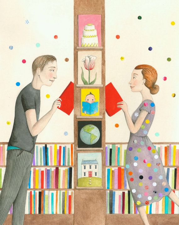 "Polka Dots in the Strand, one of Sophie Blackall's series of Missed Connections illustrations based on real entries in the ""Missed Connections"" column"