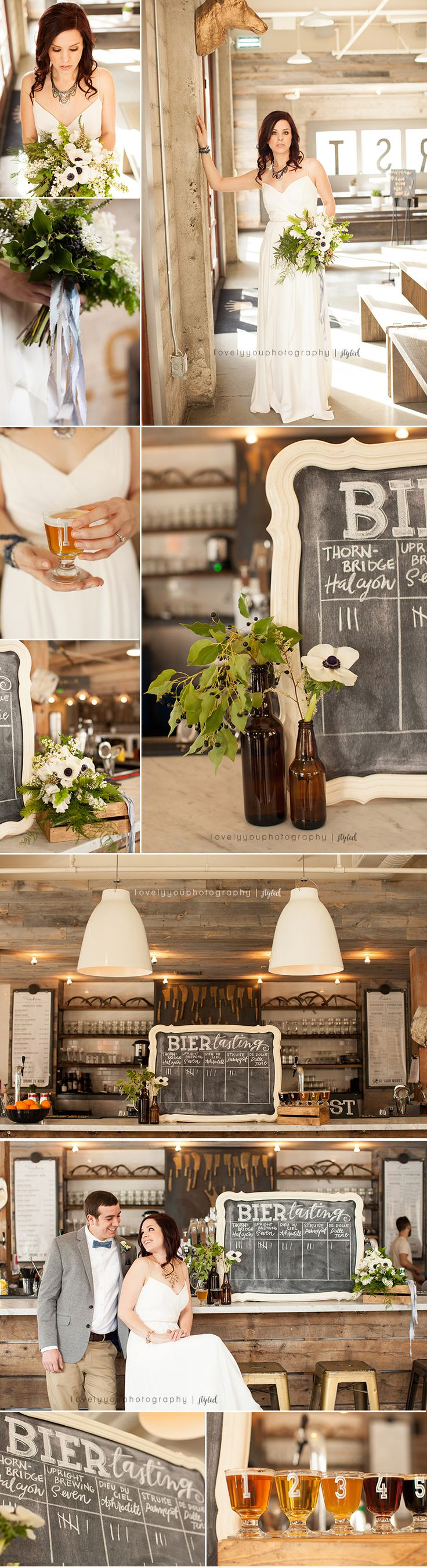 Beer themed wedding at LowBrau Bierhall #beerwedding #brewerywedding #onthegobride Photography by Lovely You Photography Planner and designer of our shoot was Artsy Heartsy Events. Invitations by Meredith Carty Design Floral Design by Thistle and Honey Vintage Rentals by Dogwood Party Rentals Chalkboard Signs by Wedding Chalk Art Escort Cards by Pigment & Parchment Cake by Ettore's European Bakery & Restaurant Brides Hair & Makeup by Jenifer Haupt Bride's Gown by La Soie Bridal