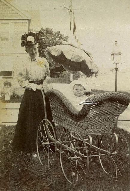 Gladys Wilson in stroller 1897, Newport, Rhode Island