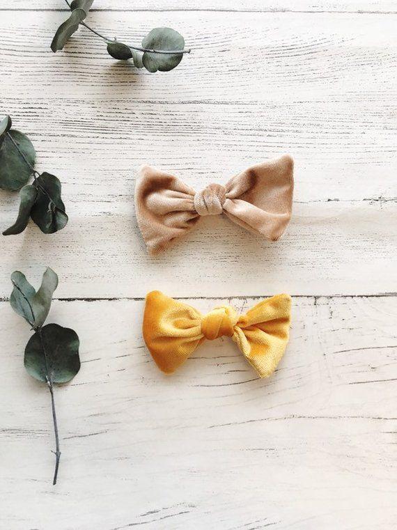02376979f10c9 Velvet fabric knot bow hair clip | velvet hair clip, velvet hair bow ...