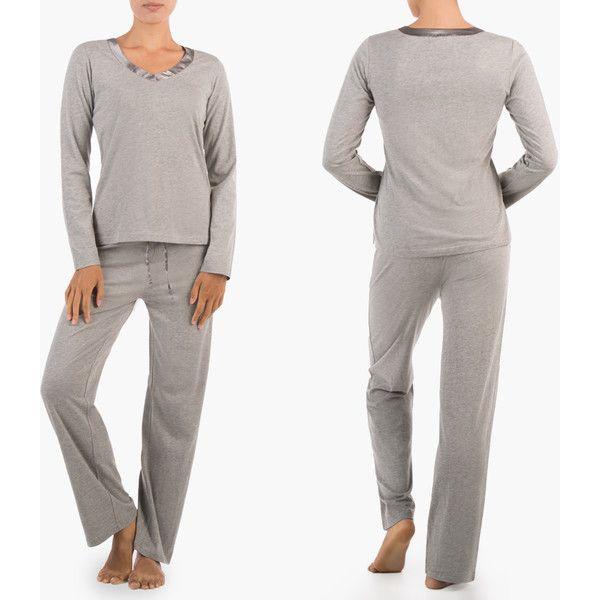 Women's Sociology Womens Long-Sleeve V-Neck and Pant Pajama Set ($20) ❤ liked on Polyvore featuring intimates, sleepwear, pajamas, heather gray, lounge & sleepwear, long sleeve pajamas, long sleeve sleepwear and long sleeve pyjamas