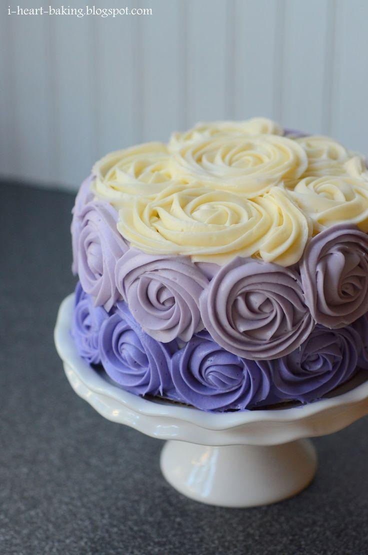 white pink purple petal cake | purple ombre roses cake