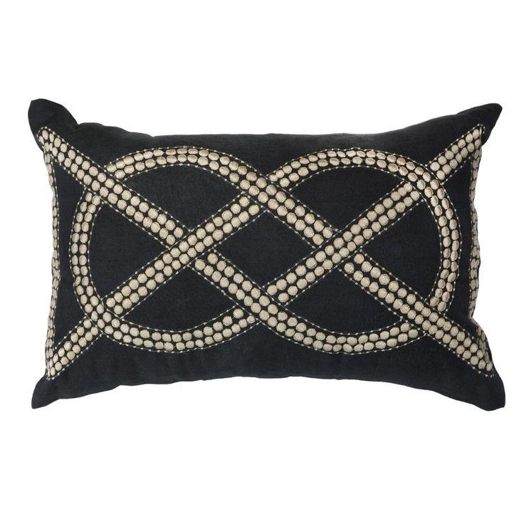 Chain Knot Black Lumber cushion 35x53cm