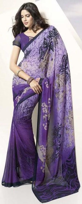 Purple georgette saree
