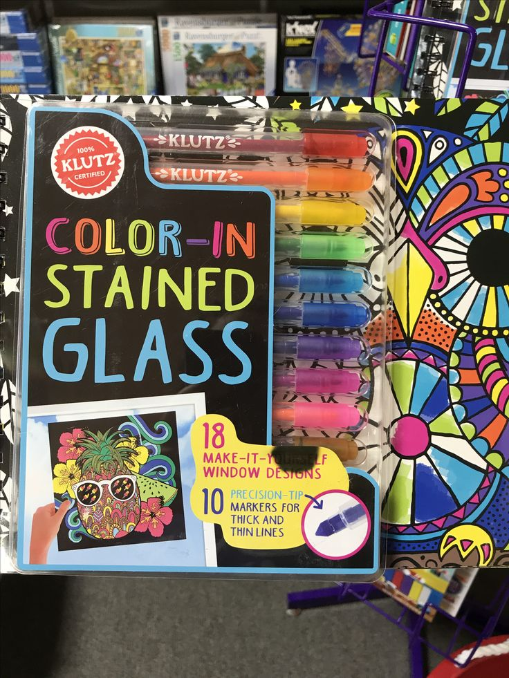 Color in stained glass. #crafts #crafty #diy #kids #toys #toystore #klutz #fun #imaginationstation #imagination