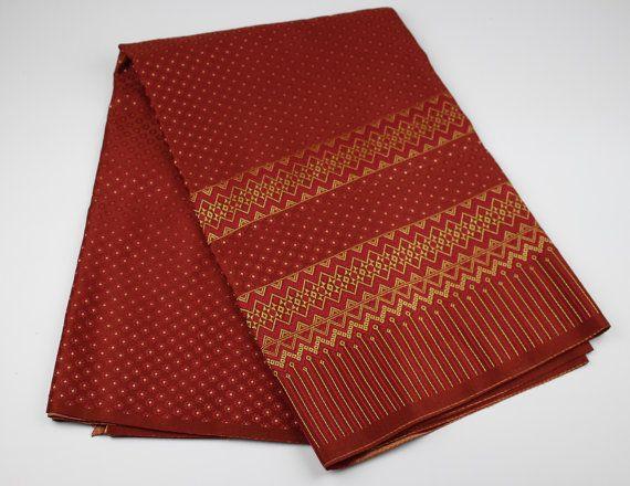 golden red thai silk fabric stripes woven sewing by pollawatt