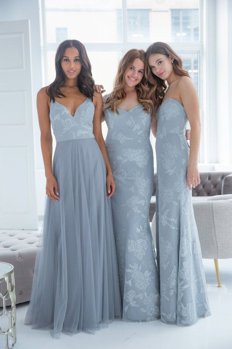 5228dd17fab3 Style 5908 Hayley Paige Occasions bridesmaids gown - Pewter English net  A-line gown, caviar bodice, sweetheart curved neckline, natural waist.