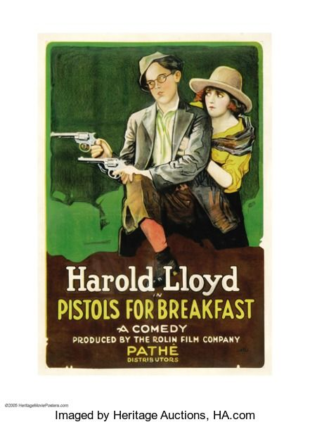 "Movie Posters:Comedy, Pistols for Breakfast (Pathe', 1919). One Sheet (27"" X 41""). Thiscomedy short produced by Hal Roach starred Harold Lloyd, S..."