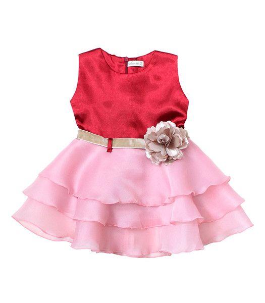 Satin Organza Dress in Ruby